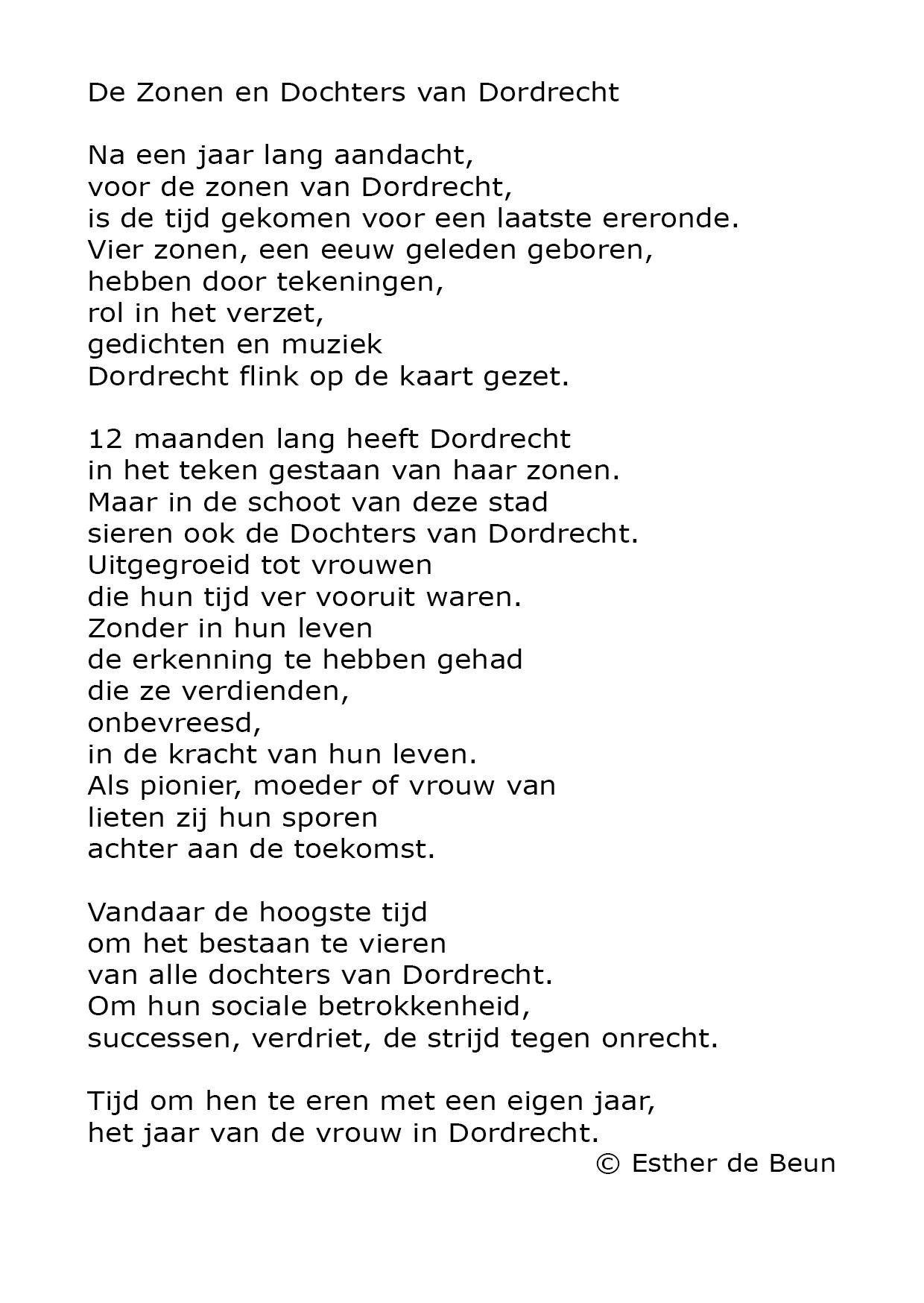 Gedichten Esther De Beun Dochters Van Dordrecht